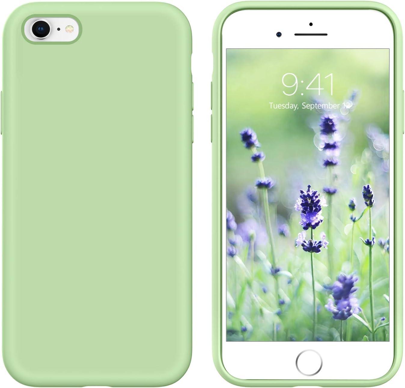 GUAGUA iPhone 6s Plus Case iPhone 6 Plus Case Liquid Silicone Soft Gel Rubber Slim Lightweight Microfiber Lining Cushion Texture Shockproof Protective Phone Case for iPhone 6 Plus/6s Plus Matcha Green