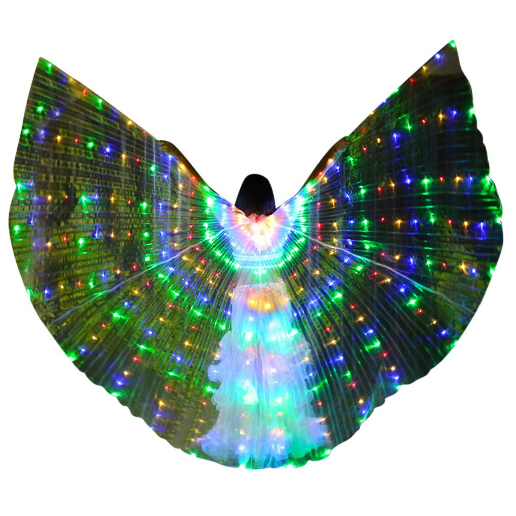 FEDULK Womens LED Wings Belly Dance Performance Costumes Colorful Butterflies Wings with Telescopic Stick(G)
