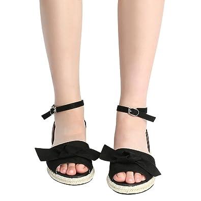 c45f2f8ca53b Familizo Women Ladies Peep Toe Low-Heeled Sandals Valueweight Bow Flat Heel  Fashion