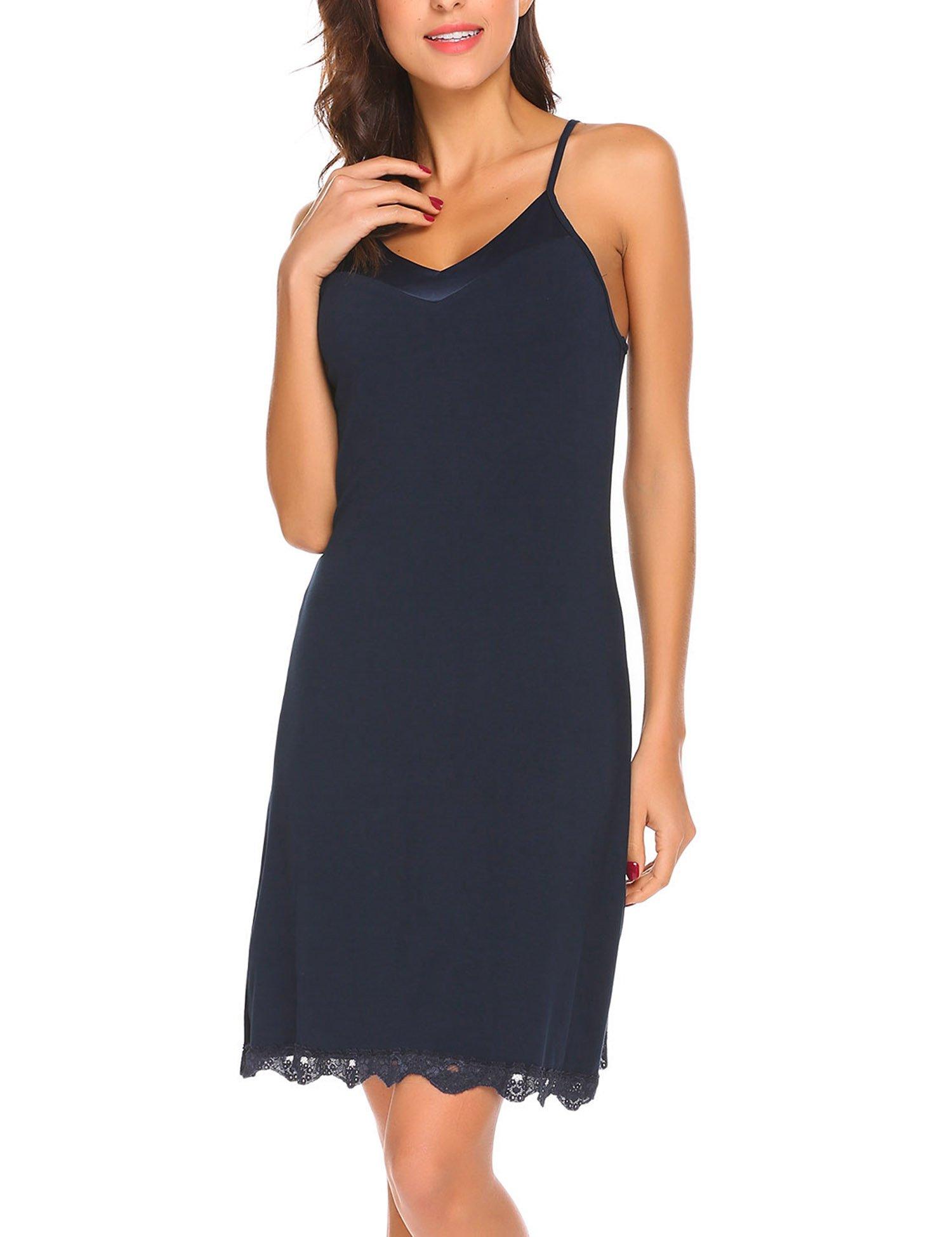 MAXMODA Women's Sexy Lingerie Sleepwear Satin Lace Chemise Nightgown