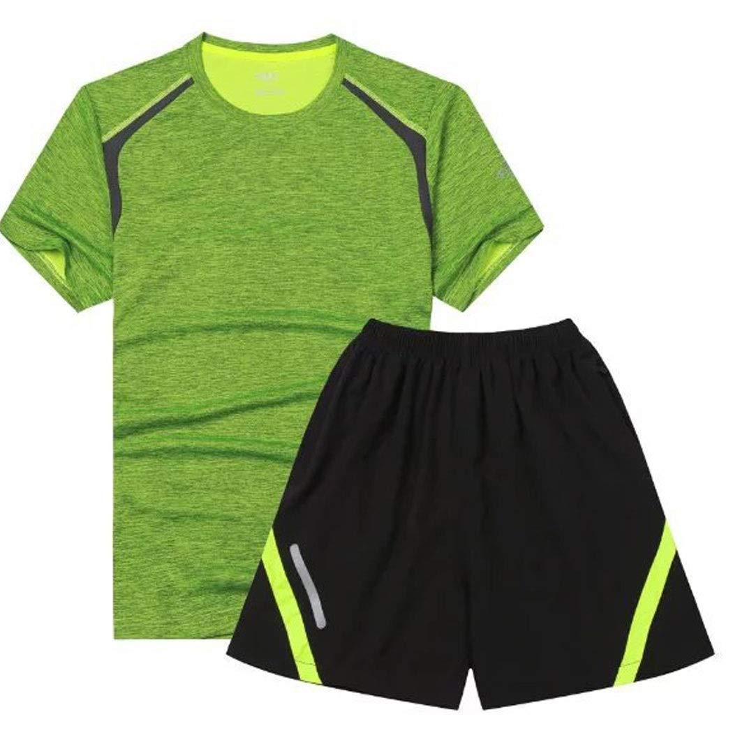 Sommersportanzug Outdoor Fitness Training Laufbekleidung Herren Atmungsaktiv Schweißabsorbierend Und Schnell Trocknend Mit Reflektierenden Streifen Kurzärmlige Kleidung ( Color : F , Size : L )