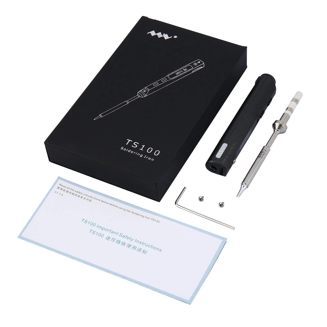 Elegante 1 juego Mini portátil 65W Programable TS100 Soldador eléctrico LCD digital Diseño de fácil desmontaje ahorrando espacio Negro: Amazon.es: Bricolaje ...
