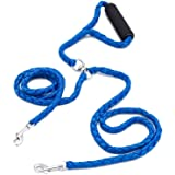 Locisne No se enreda correa de perro doble de 1.4m 2 perros de nylon (azul)