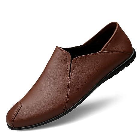 YAN Zapatos de Cuero para Hombres, Zapatos de Vestir Mocasines y Zapatillas sin Cordones Primavera