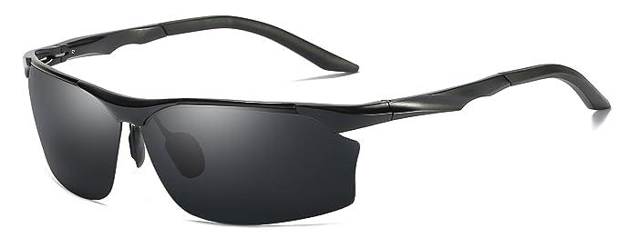 205143b3f54 Aoron Mens Sunglasses Polarized Sports Driving Aluminium Magnesium Frame  Eyewear 100% UV400 Glasses Goggles For