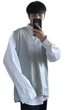 BSCOOLメンズ ニットベストVネック ゆったり 無地 プルオーバー ニットセーター ノースリーブ 韓国ファッション 通学