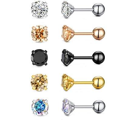 7777fda81f520 18g Stainless Steel Cubic Zirconia Stud Earrings for Women Men Cartilage  Ear Piercings Jewelry Helix Tragus Screw Backs Set 5mm