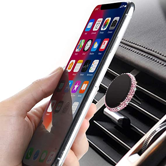 ATMOMO Pink Crystal Rhinestone Car Phone Mount Bling Air Vent Car Cell Phone Holder Adjustable Holder