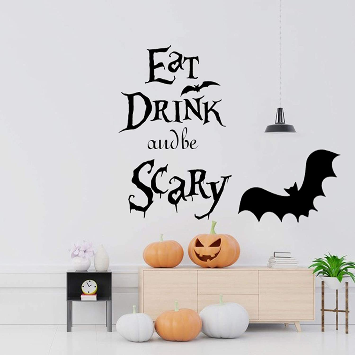 Eutecado Halloween Bat Wall Sticker, EAT Drink and be Scary Letterings Wall Decals Window Clings Stickers Scary Decor, Removable Wall Posters for Living Room
