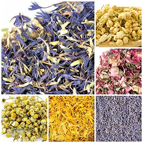 bMAKER Bulk Botanical Flowers Kit (6pack) Edible & Kosher Certified 1.5 cups each of Jasmine, Cornflowers, Lavender, Marigold, Chamomile and Pink Rose Buds & Petals, 2ml of Rose Absolute Essential Oil Lavender Flower Petals