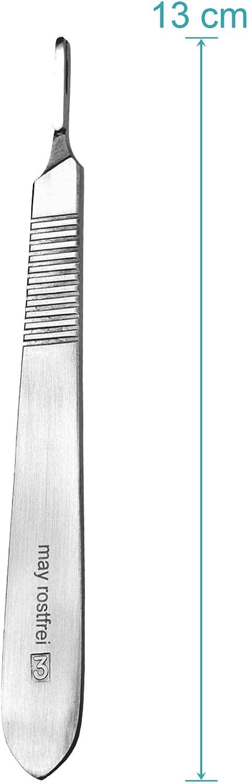 Set 10 x May May Edelstahl Skalpell-Halter mit 13 cm langem Griff inkl Me/ßskala in cm