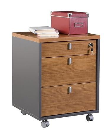 Cassettiera mobile ruote chiave per scrivania grigio ciliegio ...