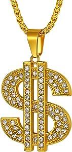 Richsteel Color Oro Colgante Dólares/Corazón Roto/Cruz Egipcia/Rey Emperador/Mapa Africano/Mano de Rezar/Jesucristo/Hoja de Arce/Cuchillo Iced Out artificial Diamantes Regalo Navidad Cumpleaños Fiesta