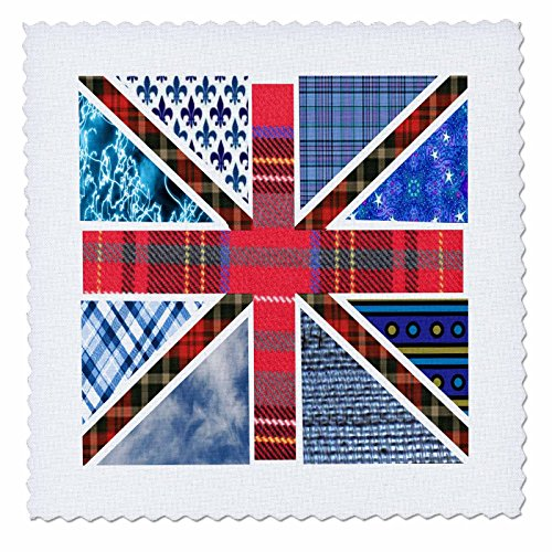 3dRose Contemporary Trendy Patterned Union Jack English Flag - Modern Great Britain United Kingdom England - Quilt Square, 6 by 6-Inch (qs_58322_2) (4l Shirt X)