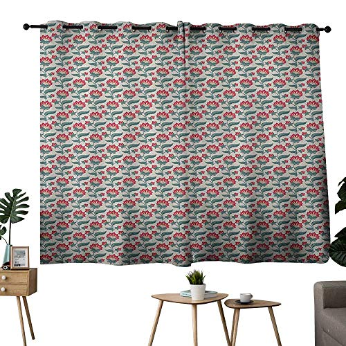 Blackout Curtain Panels Window Draperies Floral,Jacobean Style Blooming Petals and Foliage Leaves Botanical Composition, Dark Coral Teal Beige,Blackout Draperies For Bedroom Living Room 42