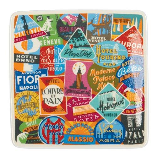 (Vintage Travel Labels Square Porcelain Tray)