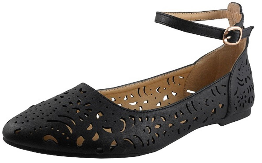 Cambridge Select Women's Closed Round Toe Caged Laser Cutout Buckled Strappy Ankle Ballet Flat B07BZSZJ9J 9 B(M) US|Black Pu