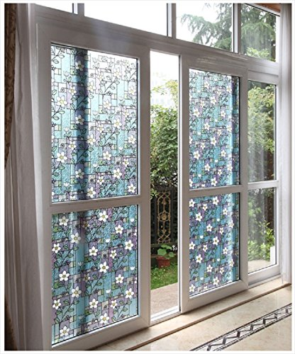 Viclover Stained Glass Window Film Non Adhesive Static