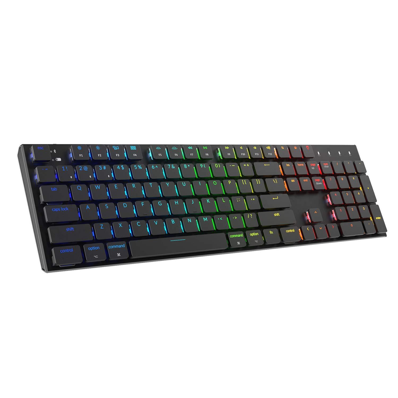 Keychron K1 Mechanical Keyboard,104 Key RGB Wireless Mechanical Keyboards Low Profile Mechanical Keyboard Ultra-Thin Bluetooth Keyboard,Anti Ghosting,N-Key Rollover,Wired Keyboard for Mac and Windows