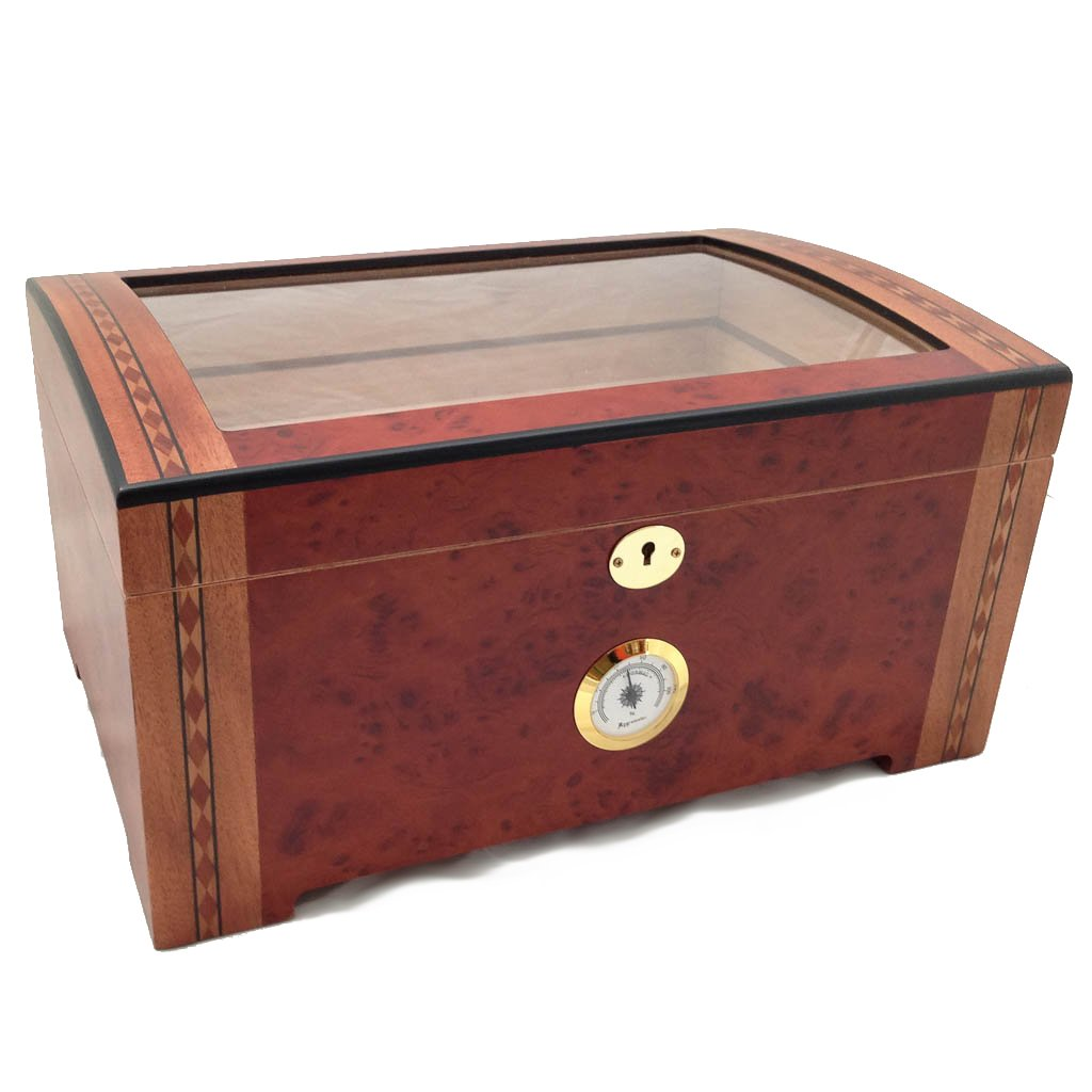 200 ct LUXURY RED WOOD CLEAR TOP WOOD CIGAR HUMIDOR Tobacco-Buddy Humidor 0422 Burl Wood