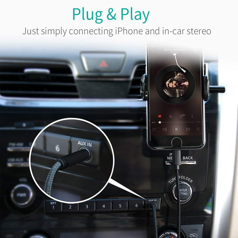 Moyagoa For Phone Aux Cable L Jack To 35mm Car Audio Adapter Old Cord 35ft 1m Spring Extended Coiled X 8 Plus 7 6 Ios