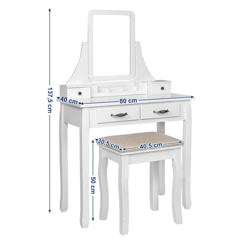 Coiffeuse con Specchio e Sgabello SONGMICS RDT012WT con 2 cassetti Grandi e binari 80 x 137,5 x 40 cm in Legno Colore: Bianco L x A x P