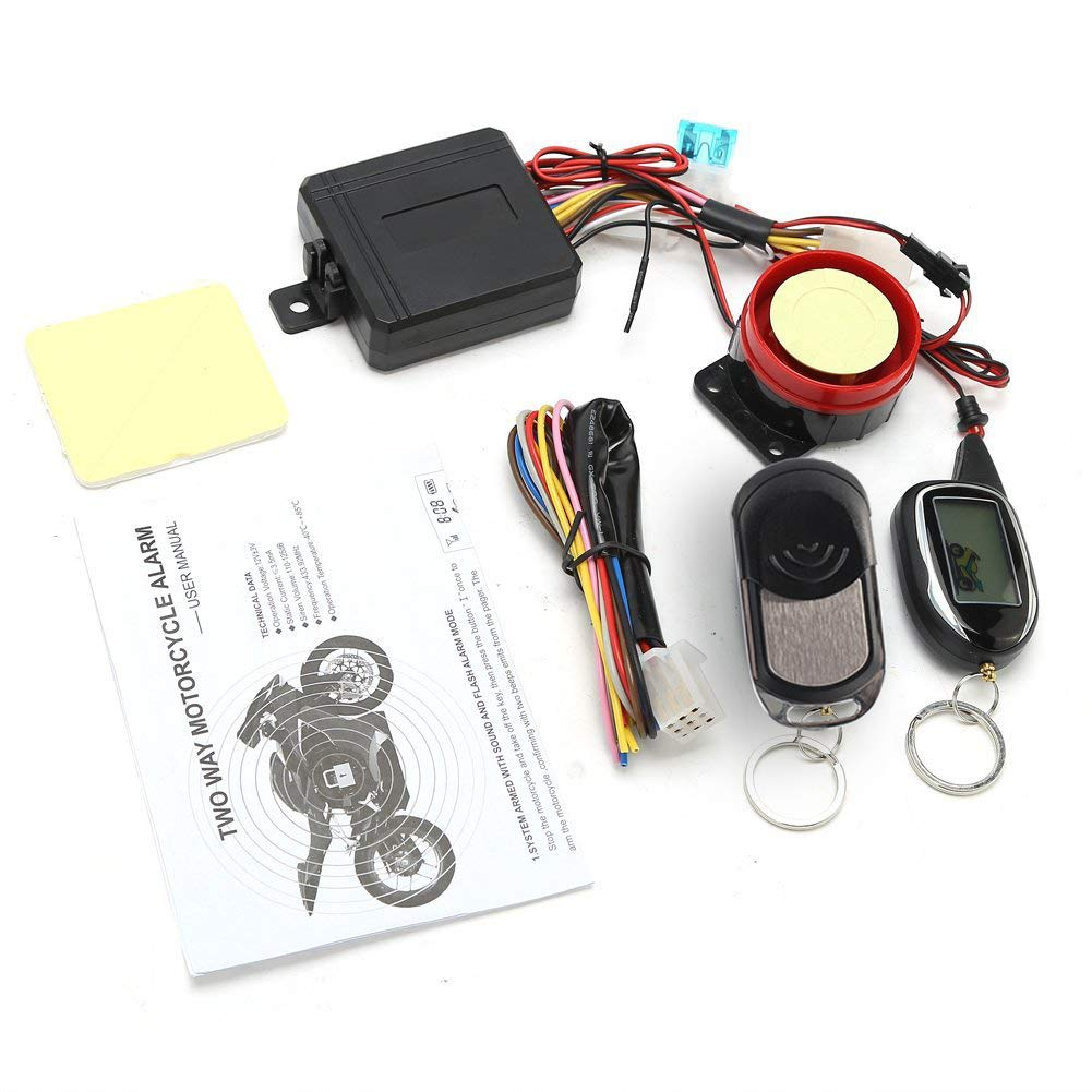 BANVIE 2 Way Motorcycle Security Alarm System with Remote Engine Start Scooter Alarm with Shock Sensor /& Motion Sensor DC12V
