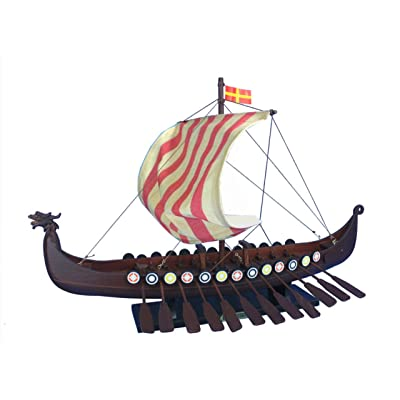 "Hampton Nautical Wooden Viking Drakkar Model Boat, 24"": Toys & Games"