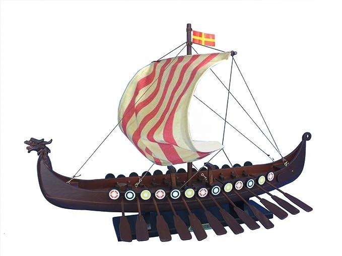 Hampton Nautical Wooden Viking Drakkar Model Boat 24quot