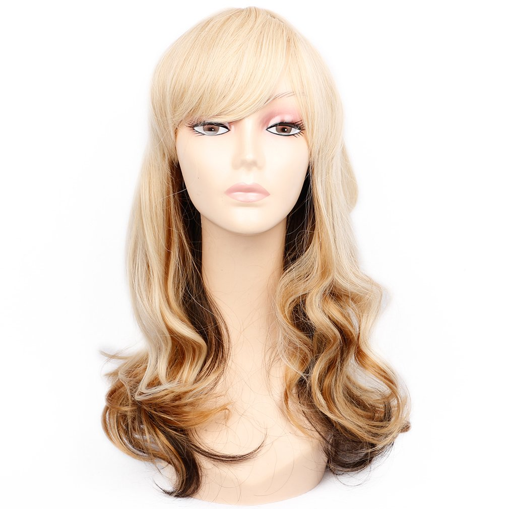 Amazon Long Blonde Wavy Wig With Side Bangs 2 Tones Long