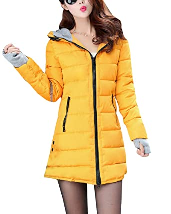 73c27d0a8cd Guiran Women Warm Coat Casual Thicker Winter Down Jacket Slim Overcoat  Padded Parka Yellow L  Amazon.co.uk  Clothing