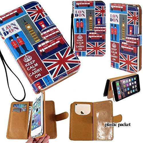 Universal PU Leather Strap Case/Purse/Clutch Fits Apple Samsung LG etc. London Flag Big Ben Bus -Medium. Magic Sticker Attaches Phone to Wallet. Strong Adhesive/Easy Remove. Fits Models Below: