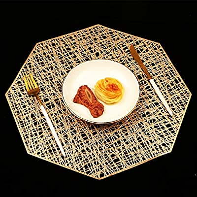 Homcomoda Placemats for Dining Table Set of 6 Place Mats Octagonal Non Slip for Dinner Table (Gold) - Placemats Size: the diagonal of place mats is 16.3inch (41.5CM); Package include: 6 set of PU place mats per package. Placemats Material: High quality PU ,this place mats have been approved as FDA Kitchen Accessories, Very durable, Easy to clean. Super Design: The effective insulation of these table place mats could reach to 80℃, creating an happy dining atmosphere for your families. If you have children, this heat-resistant placemats must be your best choice. - placemats, kitchen-dining-room-table-linens, kitchen-dining-room - 61ltadaB%2BaL. SS400  -