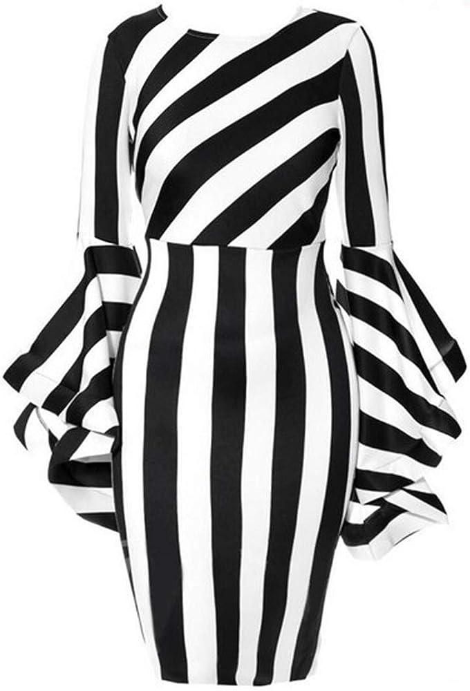 Women\'s Costume Elegant Dresses Plus Size Striped Crew Neck Ruffles Long  Sleeve Bodycon Midi Party Dress