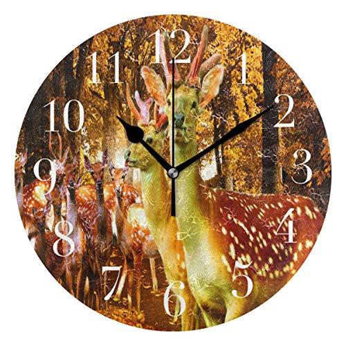 NMCEO Round Wall Clock Deer Autumn Animals Trees Acrylic Original Clock for Home Decor Creative