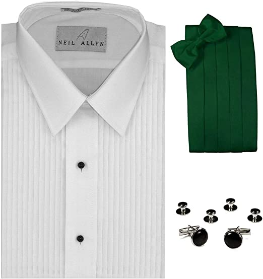 Tuxedo Camisa, Verde Esmeralda Cummerbund, Pajarita, Gemelos y ...