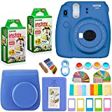 #9: FujiFilm Instax Mini 9 Instant Camera + Fuji Instax Film (40 Sheets) + Accessories Bundle - Carrying Case, Color Filters, Photo Album, Stickers, Selfie Lens + MORE (Cobalt Blue)