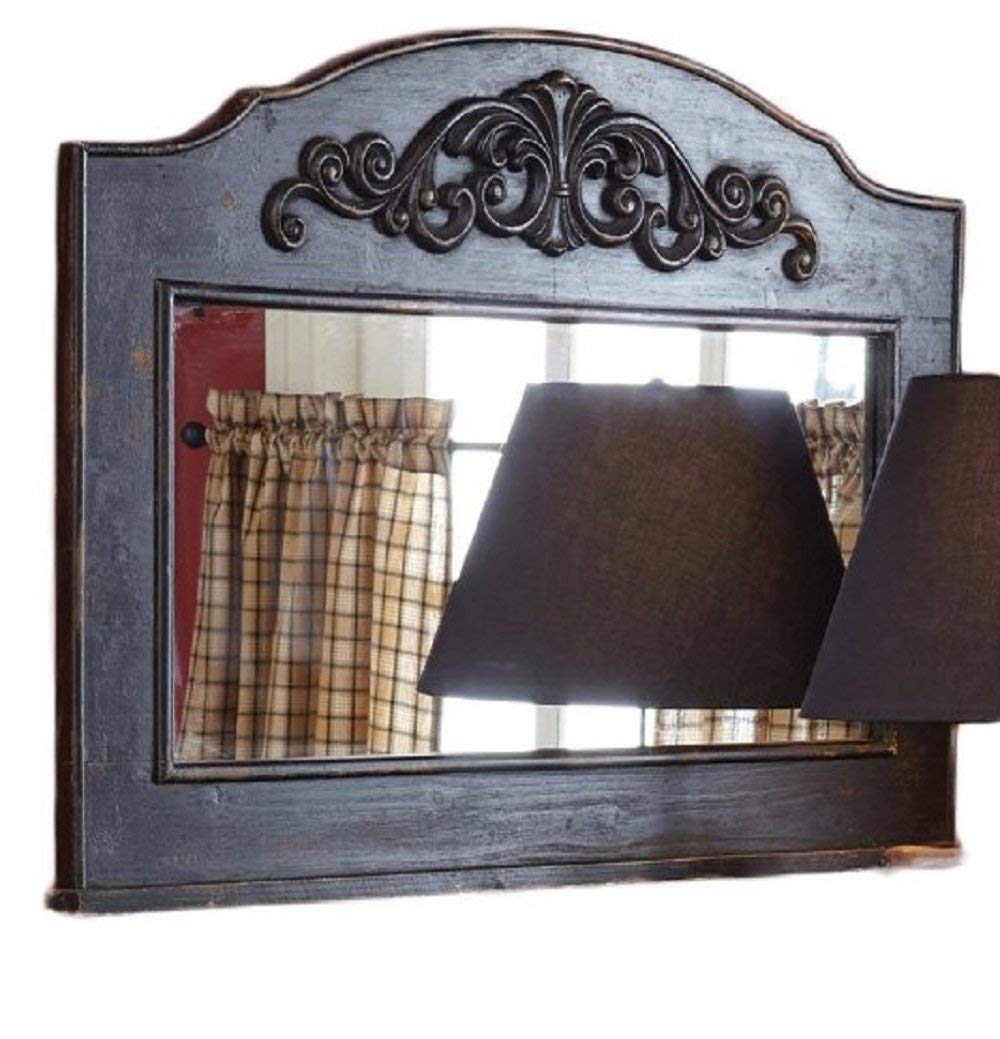 Shabby Black Mirror Distressed Aged Wood Mirrors for Wall Mantle Table Accent 26 Hx36 W