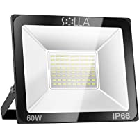 SOLLA 60W LED Flood Light, IP66 Waterproof, 4800lm, 340W Equivalent, Super Bright Outdoor Security Lights, 6000K Daylight White, Outdoor Lighting for Garage, Garden, Yard and Parking Lot