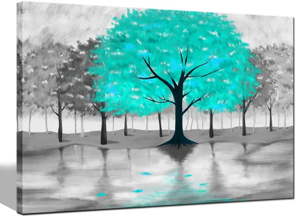 Large Tree Teal Leaves Picture Black White Canvas Wall Art  Print Decor Ornament