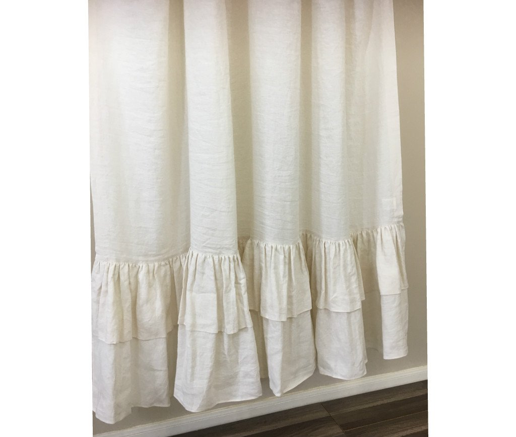 Amazon Cream Linen Shower Curtain With Double Layer Ruffles Fabulous Chic 72x72 72x85 72x94 Bathroom Decor FREE SHIPPING