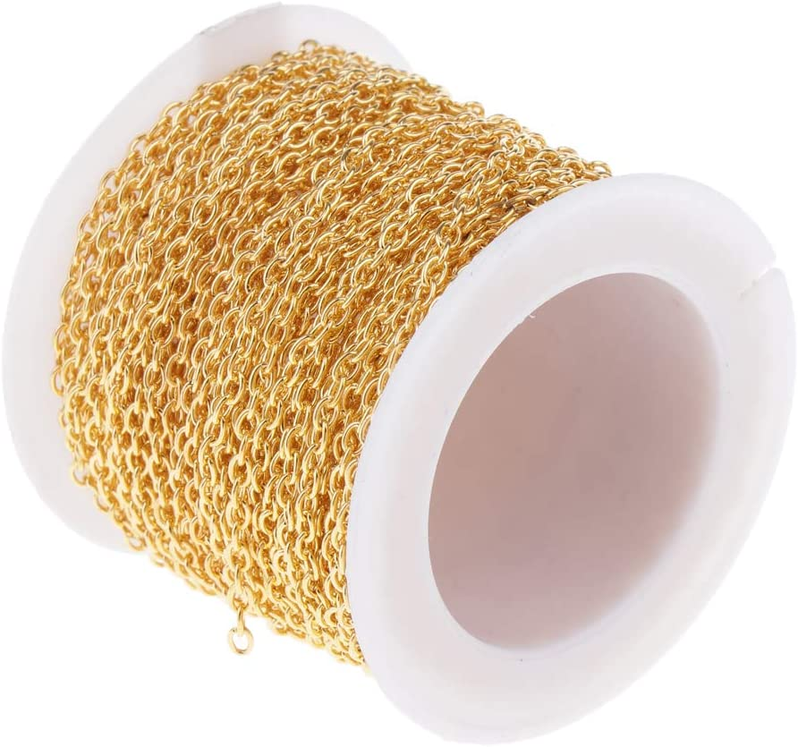 Golden IPOTCH 30 Feet Cable Chain for Jewelry Making,Unfinished DIY Jewelry Making Chains Necklace