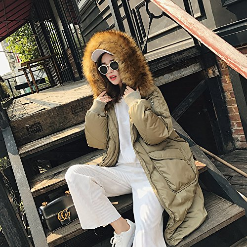 Xuanku Cotton In The Long Section Of The Winter Loose Large Fur Collar Down Jacket Cotton Jacket Army Green 1097