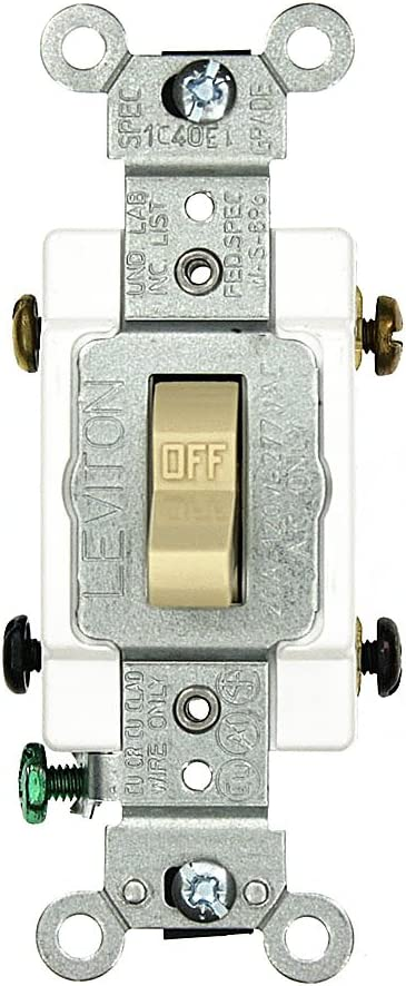 Back and Side Wired Extra Heavy Duty Spec Grade Self Grounding Toggle Double-Pole AC Quiet Switch 120//277 Volt White Leviton 3032-2W 30 Amp