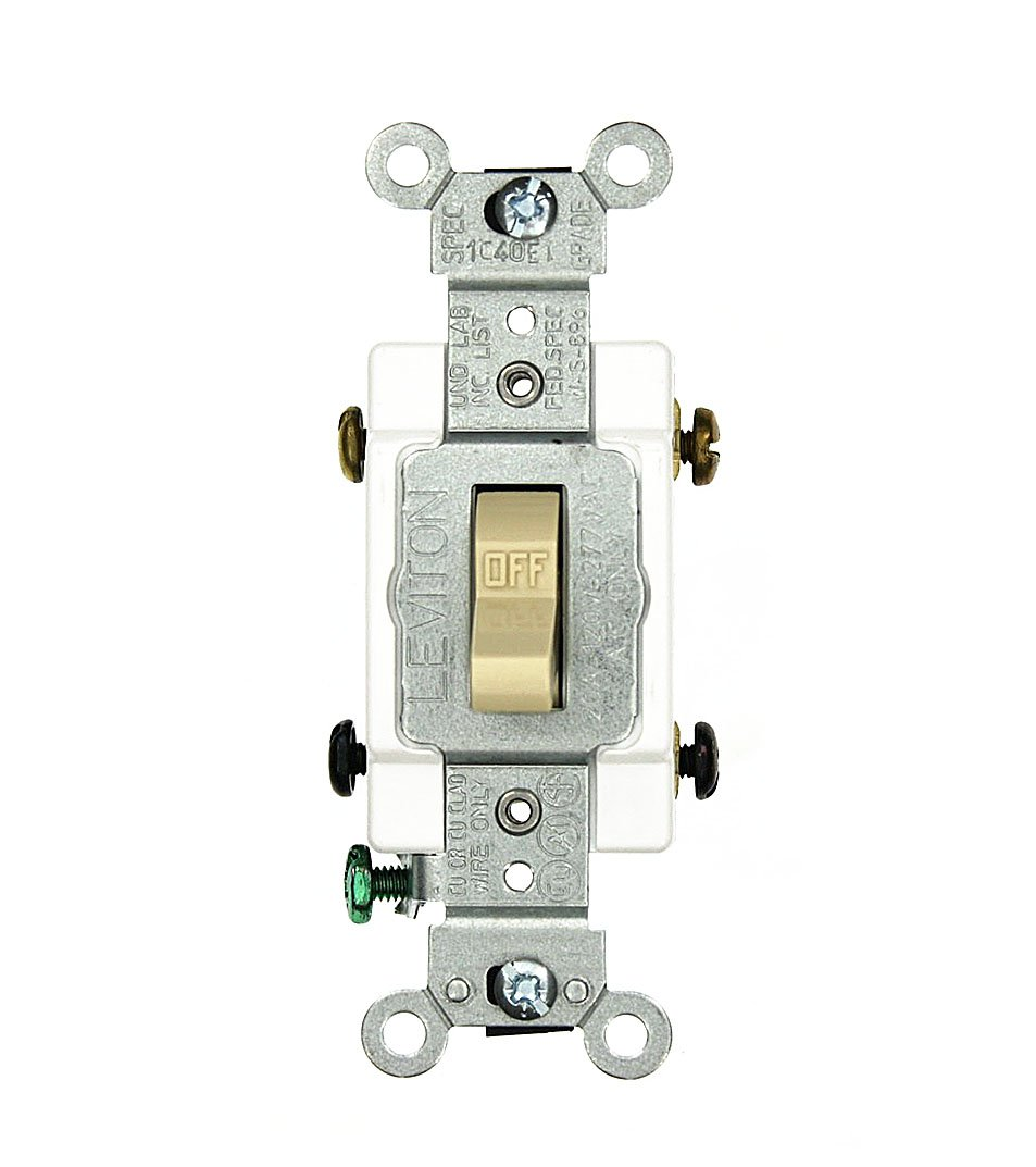 Leviton CSB2-20I 20 Amp, 120/277 Volt, Toggle Double-Pole AC Quiet Switch, Commercial Grade, Grounding, Ivory