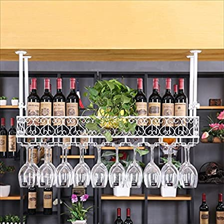 HaohaoCD Barra de Bar mostrador de Bar Estante de Vino Restaurante hogar Copas de Vino Estante invertido Retro Arte de Hierro bastidores de Vino (Color : C, Tamaño : 100 * 25cm)