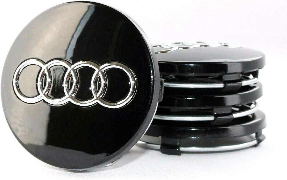 Lot de 4 capuchons de moyeu en alliage noir et chrom/é 60 mm de diam/ètre ext/érieur pour RS3 RS4 RS5 RS6 RS7 RS8 S3 S4 S5 S6 S7 S8 Q1 Q3 Q5 Q7