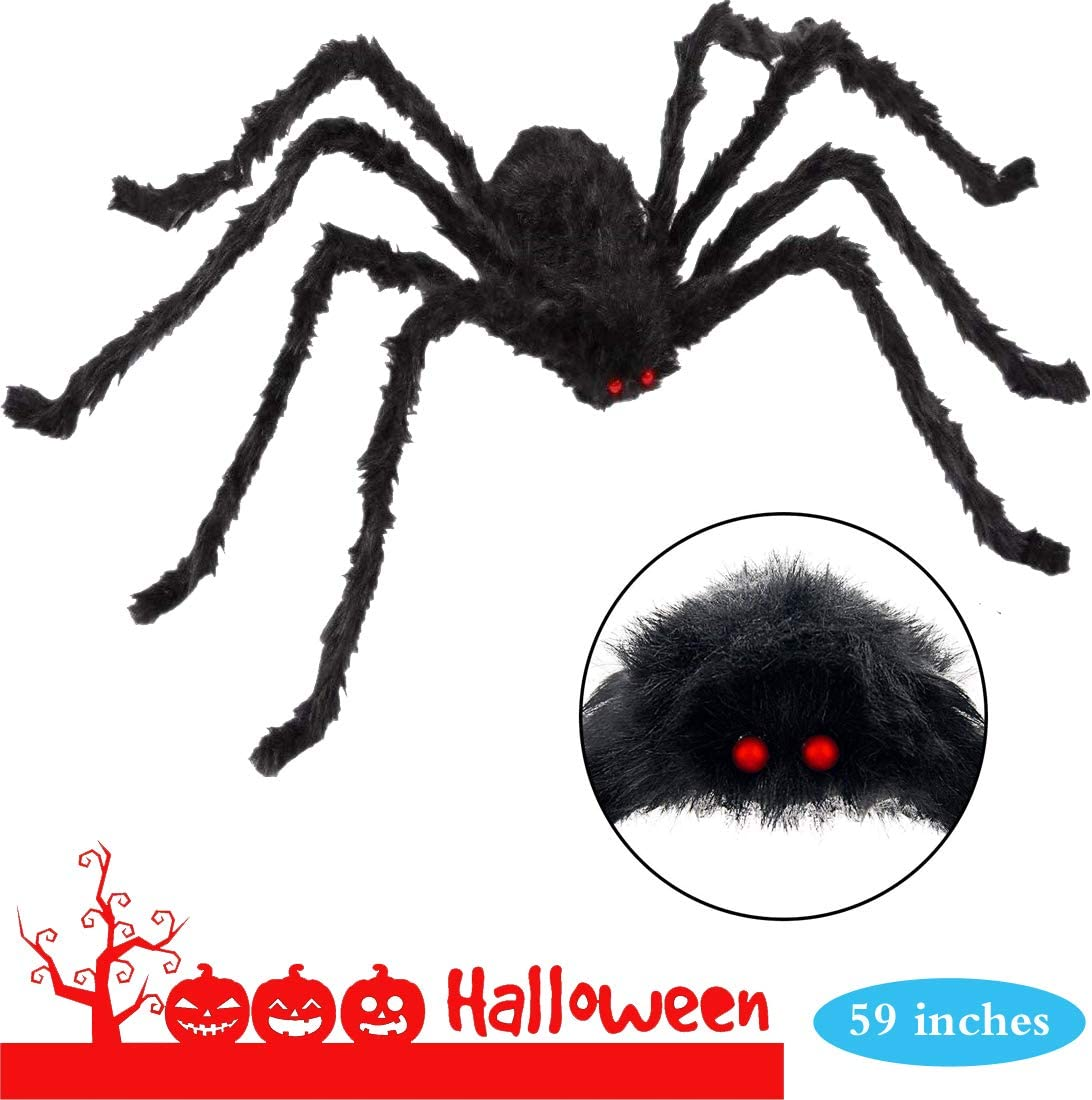 ONTY 4.9ft Halloween Giant Spider, Halloween Scary Yard Outdoor Decor, Fake Large Hairy Spider Props, Halloween Haunted House Party Decorations Supplies, Black