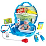 Doctors Set in Medical Carrycase Nurse Role Play Kits with Medical Doll for Kids Children 3 Years Old