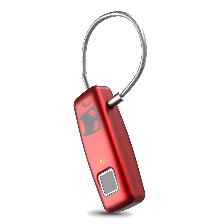 SmallSci Fingerprint Lcok Smart Fingerprint Biometric Padlock Security No Password Waterproof and Anti-theft Padlock for Suitcase Gym Locker Cupboard Drawer Door and more (Pink)